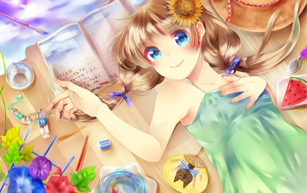 Фото обои вода, девушка, цветы, рыбка, подсолнух, шляпа, аниме