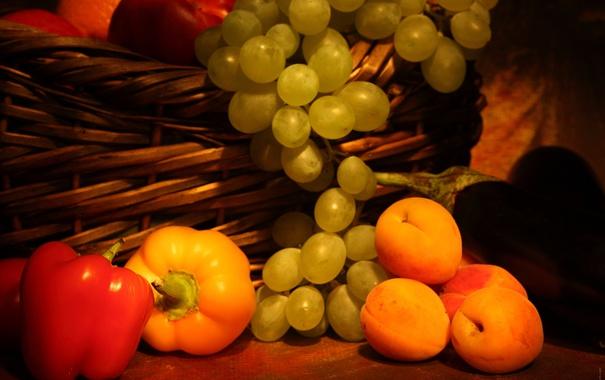 Фото обои корзина, виноград, гроздь, перец, фрукты, абрикосы