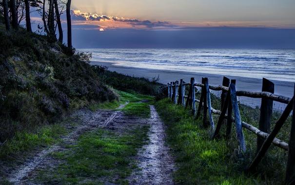 Фото обои дорога, море, закат, забор