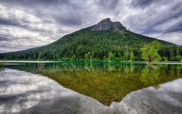 Фото обои Washington, гора, отражение, озеро, тучи, деревья, вода