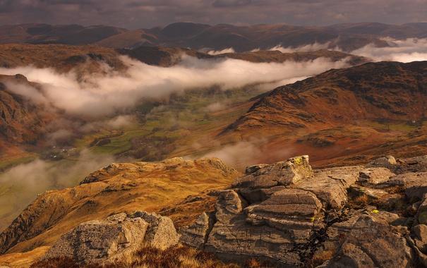 Фото обои облака, горы, скалы, долина