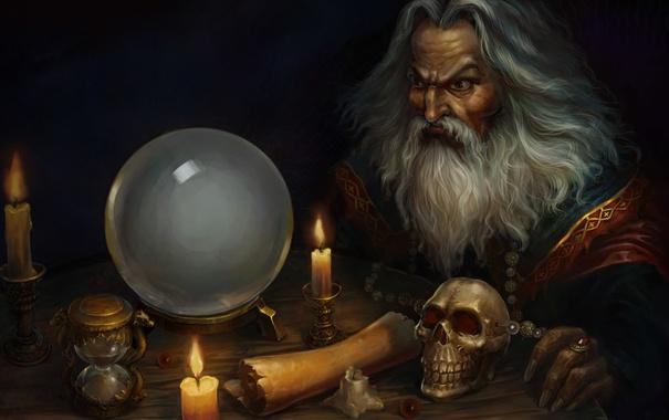 Фото обои часы, череп, шар, свечи, арт, старик, колдун
