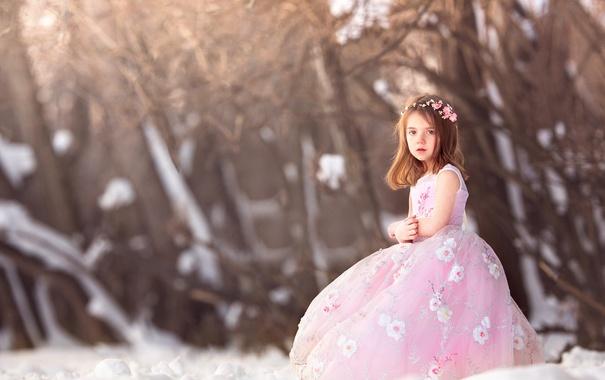 Фото обои девочка, Waiting for Spring, платье, зима