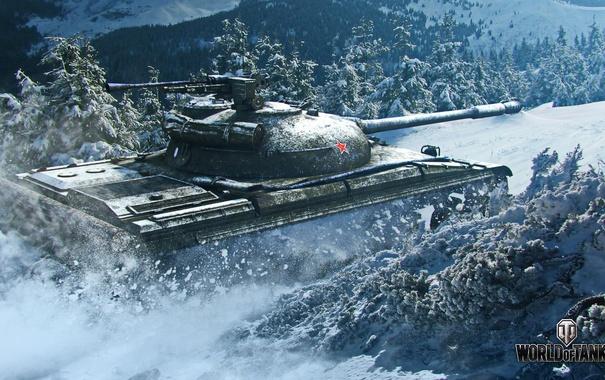 Фото обои снег, танк, USSR, СССР, танки, WoT, Мир танков