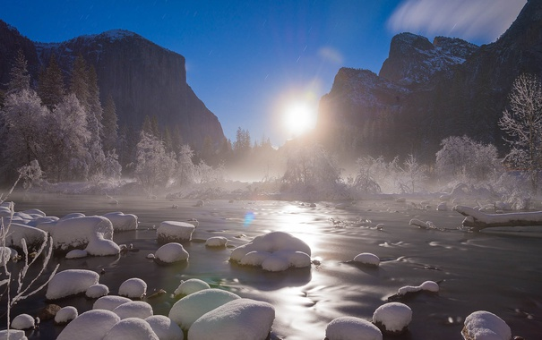 Фото обои Yosemite, Moon rise, Valley View