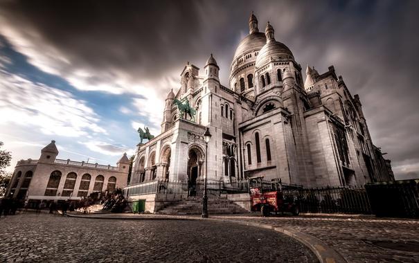 Фото обои Франция, Париж, Монмартр, базилика Сакре-Кёр
