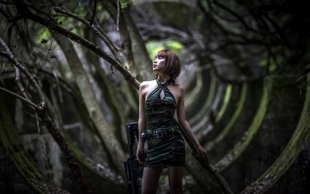 Фото обои девушка, оружие, граната, развалины, азиатка, штурмовая винтовка