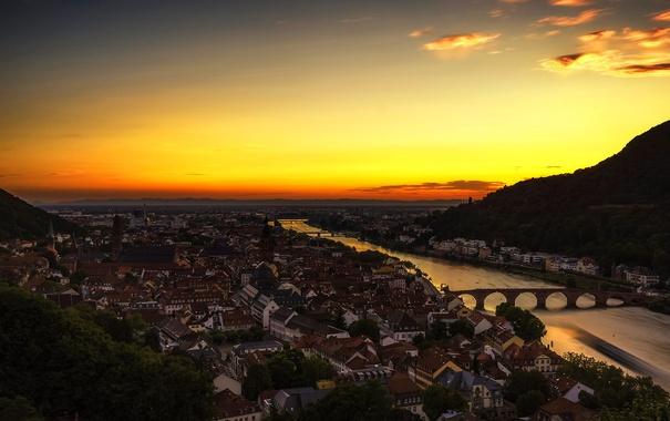 Фото обои пейзаж, горы, мост, река, дома, Германия, панорама
