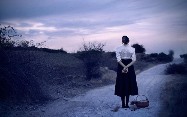 Фото обои дорога, девушка, корзина