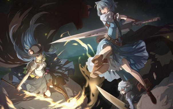 Фото обои оружие, девушки, меч, шляпа, аниме, арт, сражение