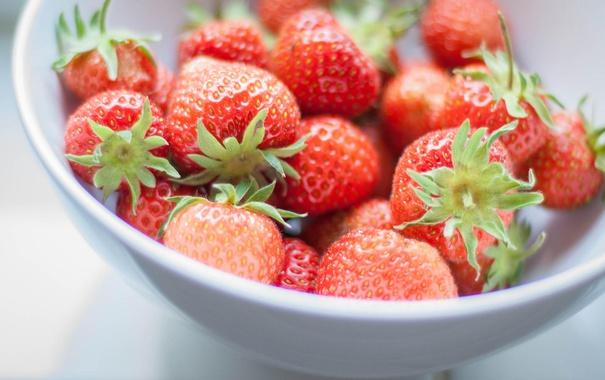 Фото обои красные, клубника, макро, ягоды