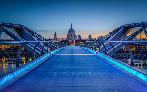 Фото обои небо, закат, англия, лондон, собор, мост тысячелетия