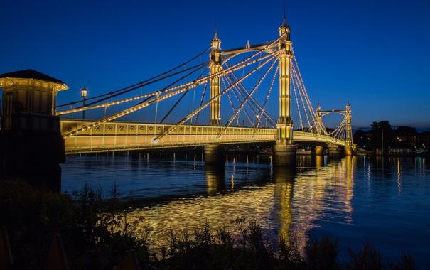 Фото обои небо, ночь, мост, огни, река, опора