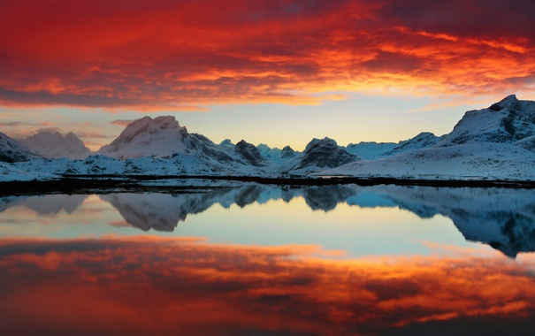 Фото обои небо, облака, снег, закат, горы, красный, озеро