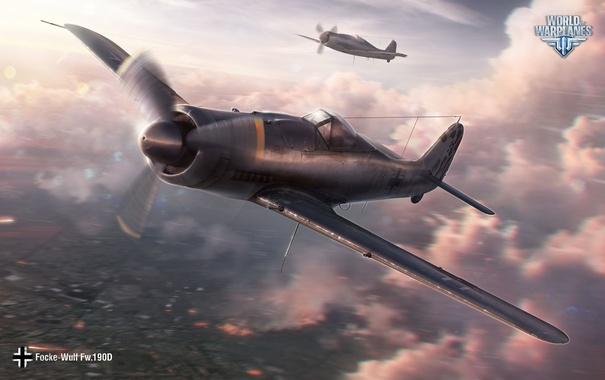Фото обои Wargaming Net, World of Warplanes, Мир Самолетов, WoWP, Fw.190D, Focke-Wulf Fw.190D