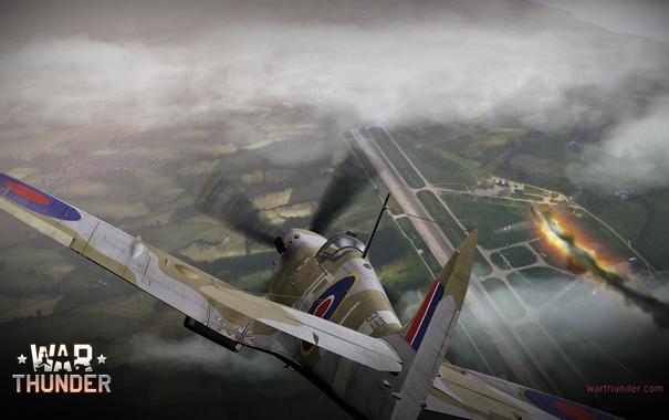 Фото обои огонь, пламя, дым, истребитель, бомбардировщик, аэродром, британский