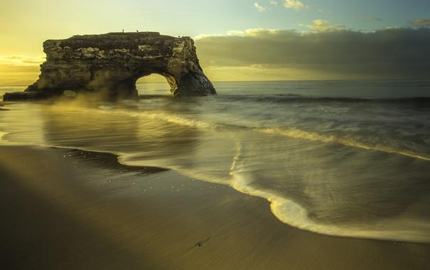 Фото обои пляж, скала, океан, рассвет, побережье, арка