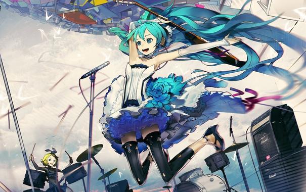 Фото обои девушки, гитара, аниме, арт, микрофон, vocaloid, hatsune miku