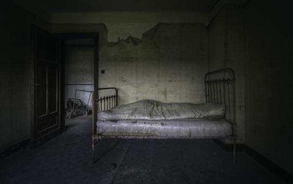 Фото обои комната, кровать, дверь