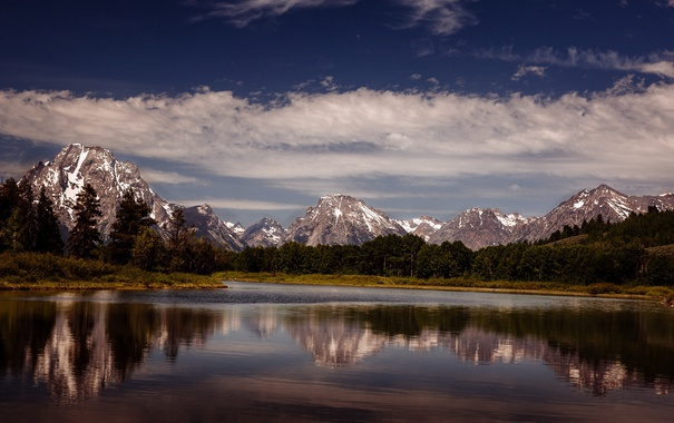Фото обои небо, облака, горы, озеро, отражение, зеркало, Вайоминг