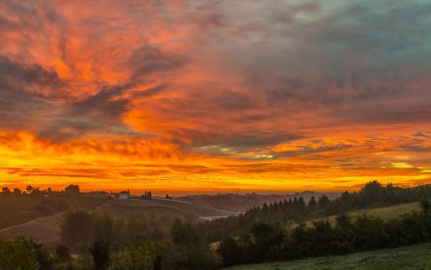 Фото обои небо, облака, закат, дом, холмы, поля