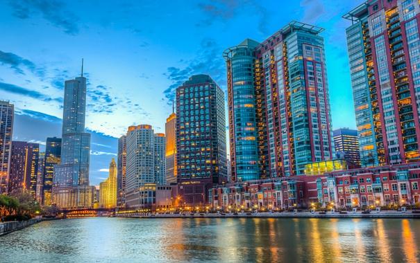 Фото обои река, здания, Чикаго, Иллинойс, Chicago, Illinois, набережная