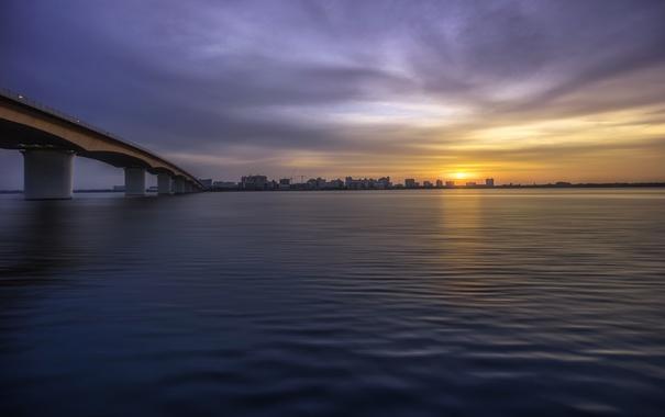 Фото обои закат, город, мост, Sarasota