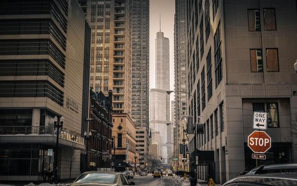 Фото обои Зима, Снег, Чикаго, Небоскребы, Здания, Америка, Иллинойс