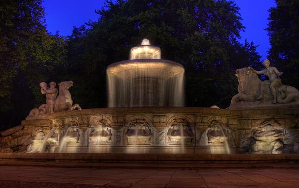 Фото обои свет, пейзаж, ночь, Германия, Мюнхен, фонтан