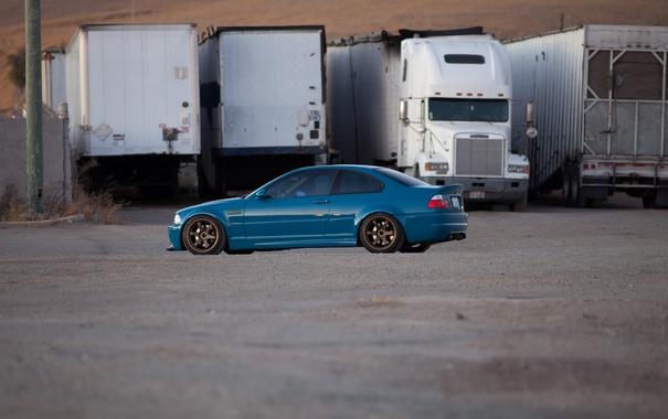 Фото обои синий, bmw, бмв, грузовик, blue, e46, прицепы