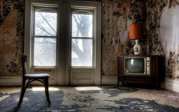 Фото обои комната, телевизор, стул