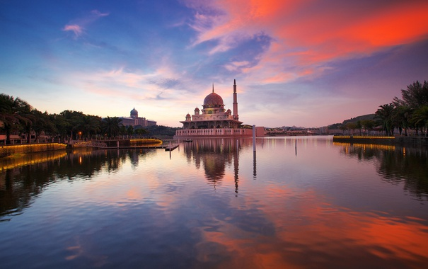 Фото обои небо, облака, закат, отражение, зеркало, Малайзия, Мечеть Путра