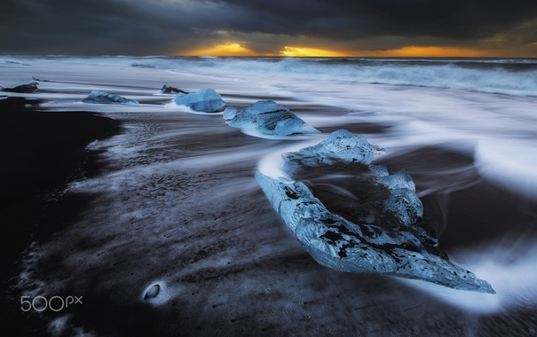 Фото обои выдержка, лёд, пляж, льдины, океан, море, потоки