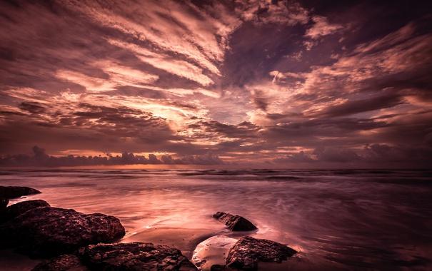 Фото обои тучи, стиль, камни, океан, берег
