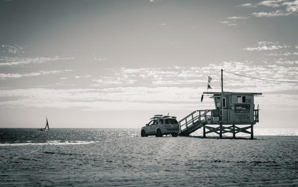 Фото обои небо, спасатель, автомобиль, пляж, парусник, море, Соединенные Штаты