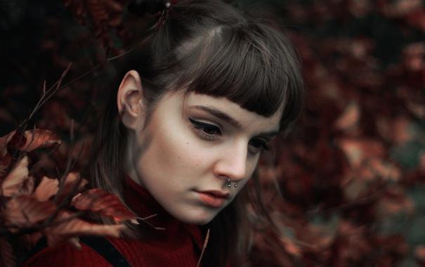 Фото обои листья, портрет, макияж, пирсинг, боке