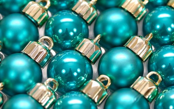 Фото обои шарики, отражение, праздник, шары, блеск, новый год, бирюзовый