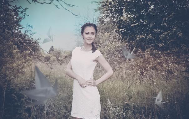 Фото обои трава, девушка, платье, фотограф, girl, photography, photographer