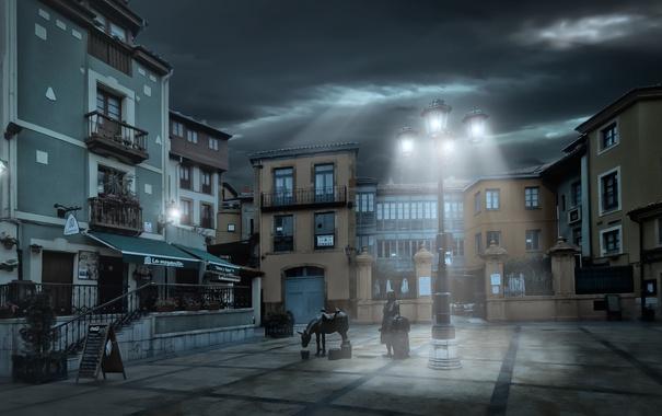 Фото обои свет, дома, вечер, площадь, фонарь, Испания, Овьеда
