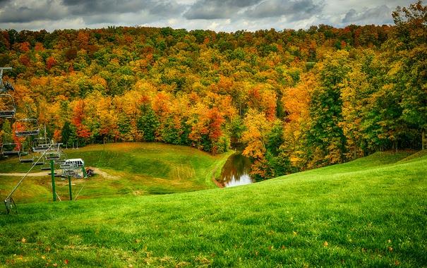 Фото обои подъемник, холмы, трава, осень, лес, листья