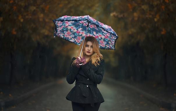 Фото обои капли, зонт, макияж, губки, Rainy Day