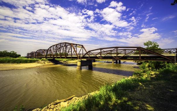 Фото обои небо, трава, облака, мост, река, камни, берег