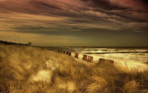 Фото обои море, ночь, рляж