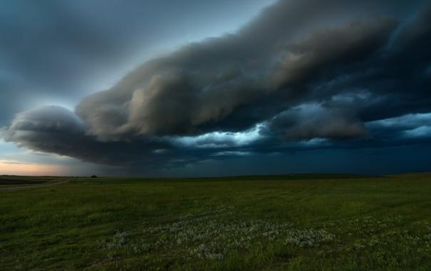 Фото обои поле, вечер, облако