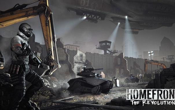 Фото обои ночь, стена, солдаты, развалины, Homefront: The Revolution