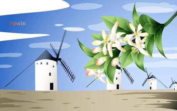 Фото обои цветы, путешествия, мельница, Испания, туризм, страна, Spain