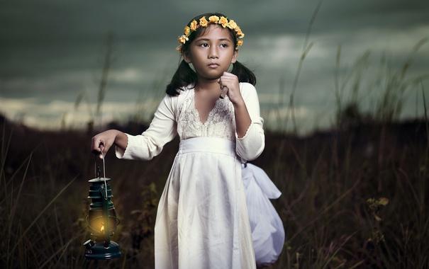 Фото обои настроение, лампа, девочка