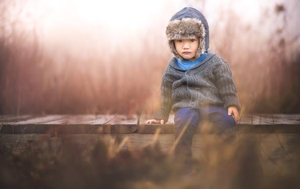 Фото обои грусть, мост, мальчик