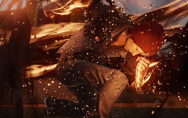 Фото обои Делсин Роу, Playstation 4, Способность, Infamous Second Son, Шапка, Огонь