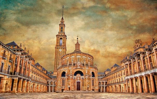 Фото обои небо, облака, башня, дома, Испания, холст, университет
